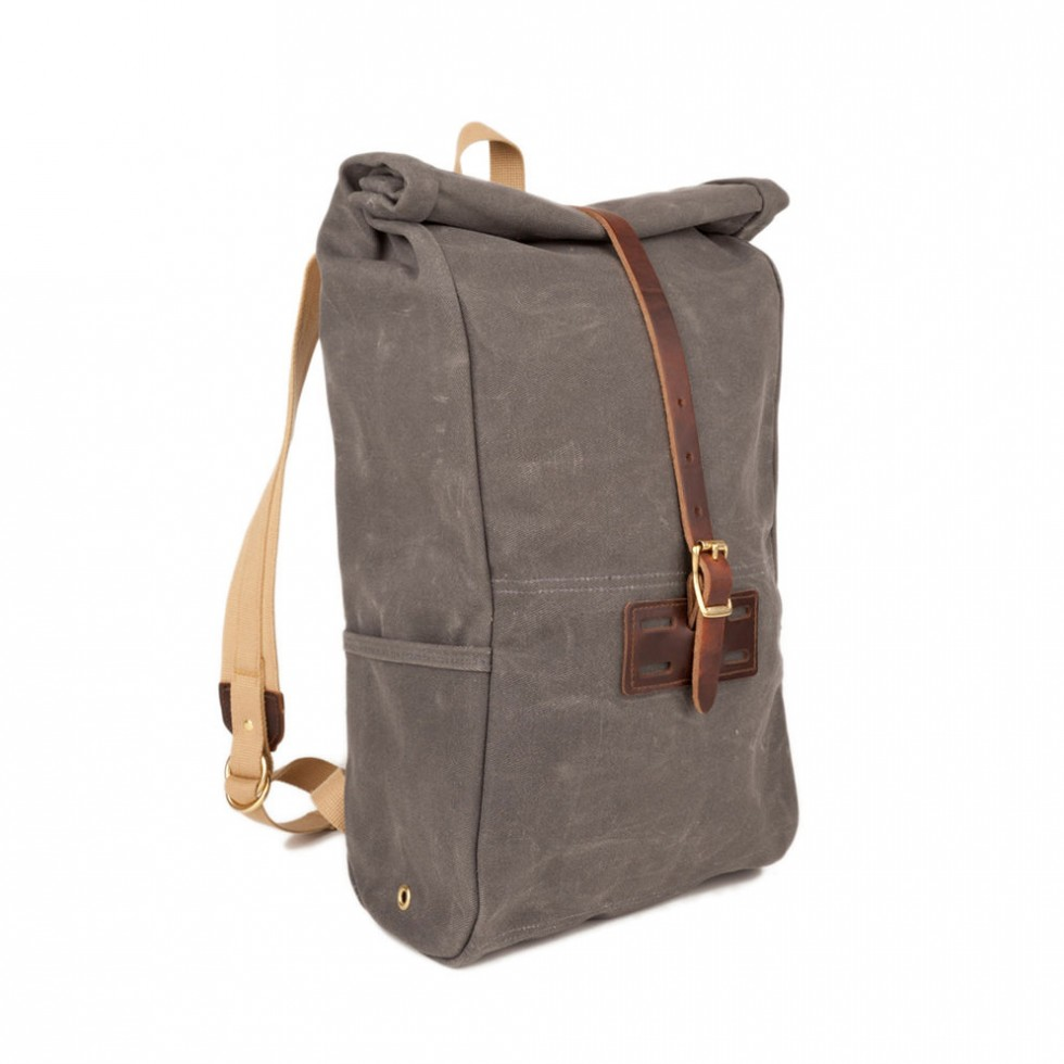 Archival Clothing - Rolltop Rucksack Waxed Canvas, Grau