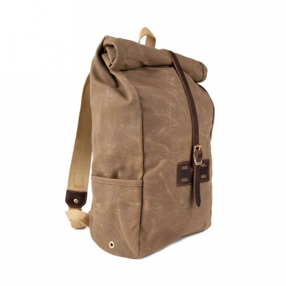 Archival Clothing - Rolltop Rucksack Waxed Canvas, Ranger Tan