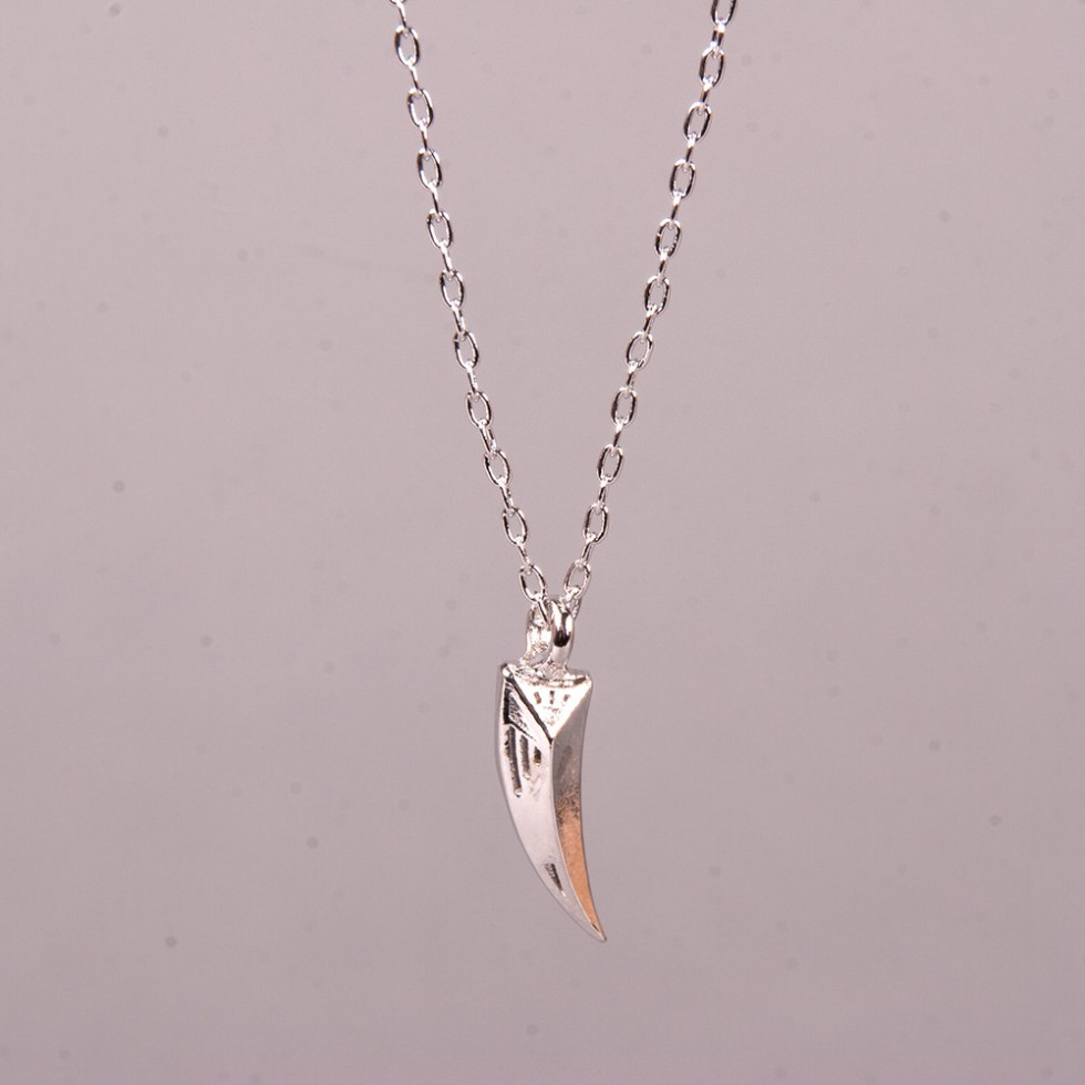 Bones & Feathers - Fauceted Petite Kette, Silber