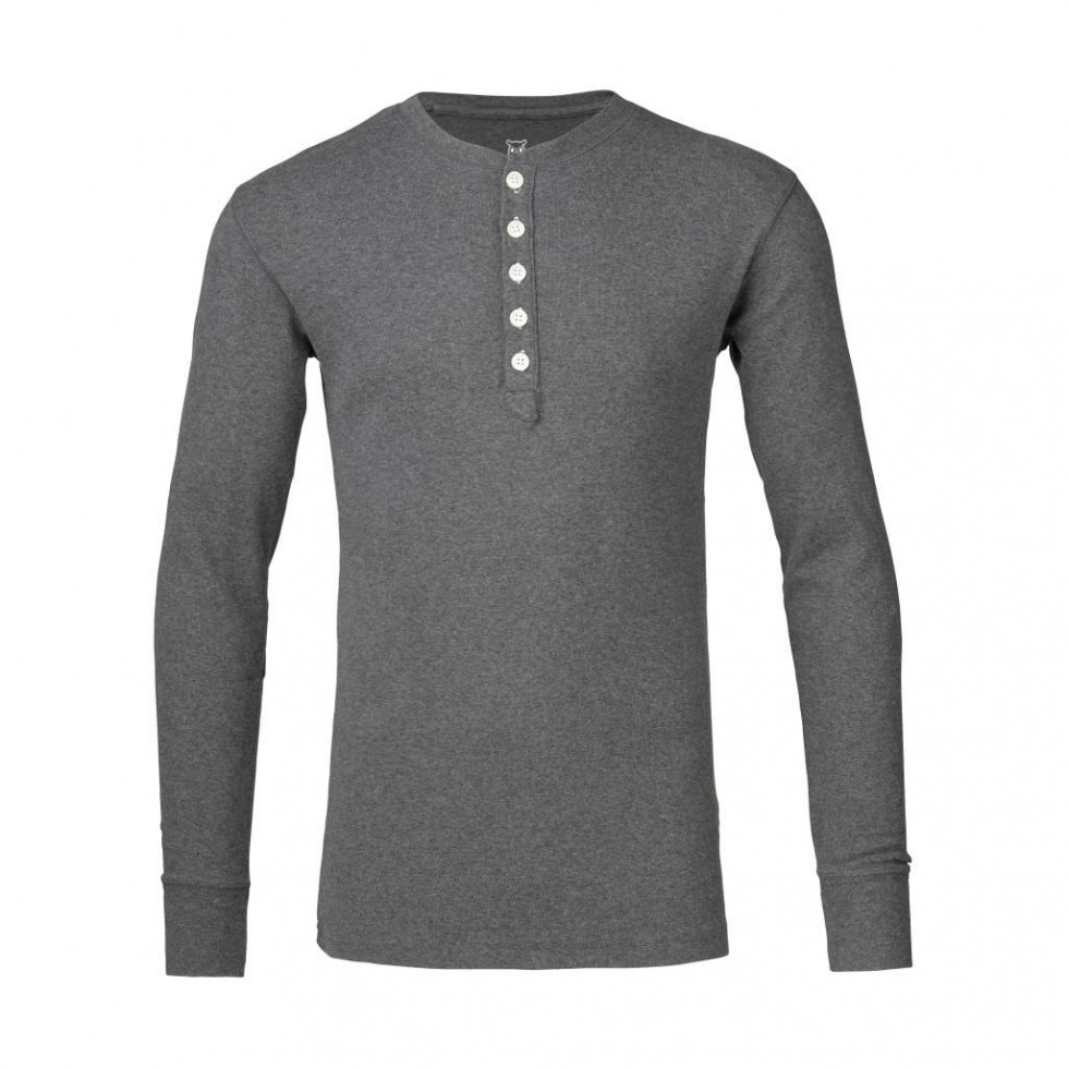 Knowledge Cotton - Rib Knit Henley, Grau