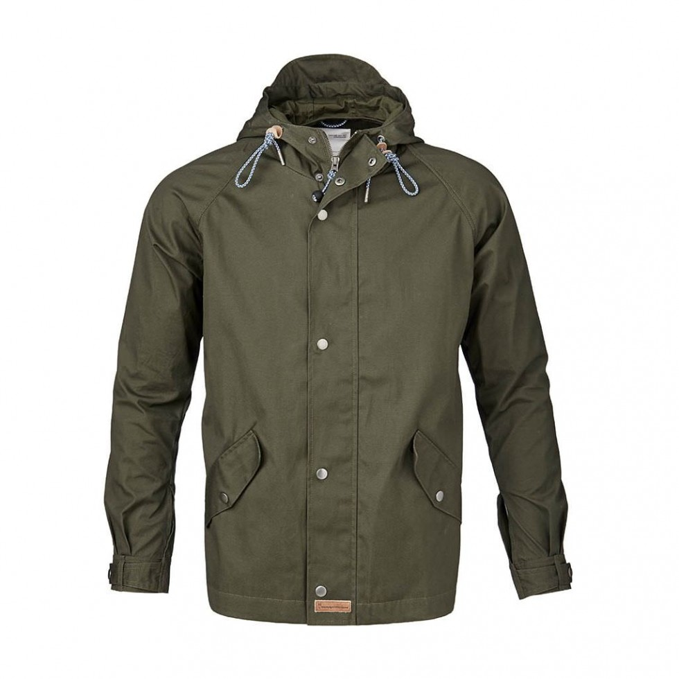 Knowledge Cotton - Waxed Canvas Light Jacket, Grün