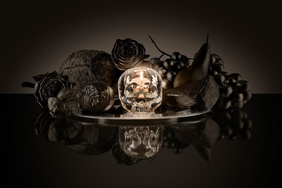 Kosta Boda - Still Life, Skull Votive Clear