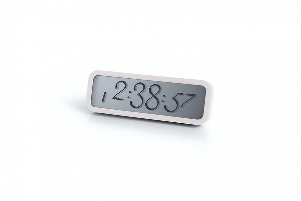 Lexon - Script Clock Small White