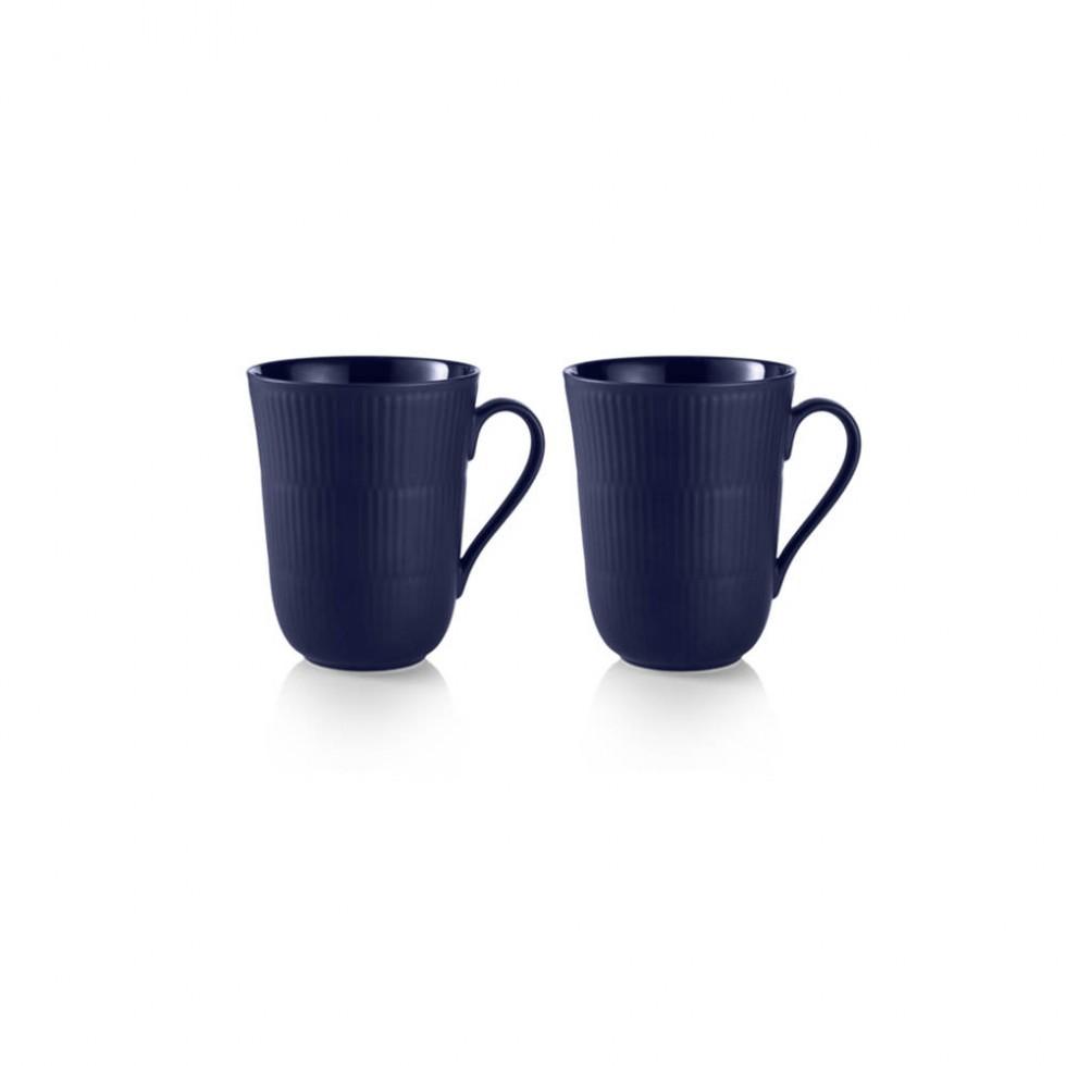 Royal Copenhagen - Blau Gerippt Tassen 33cl, 2er-Set