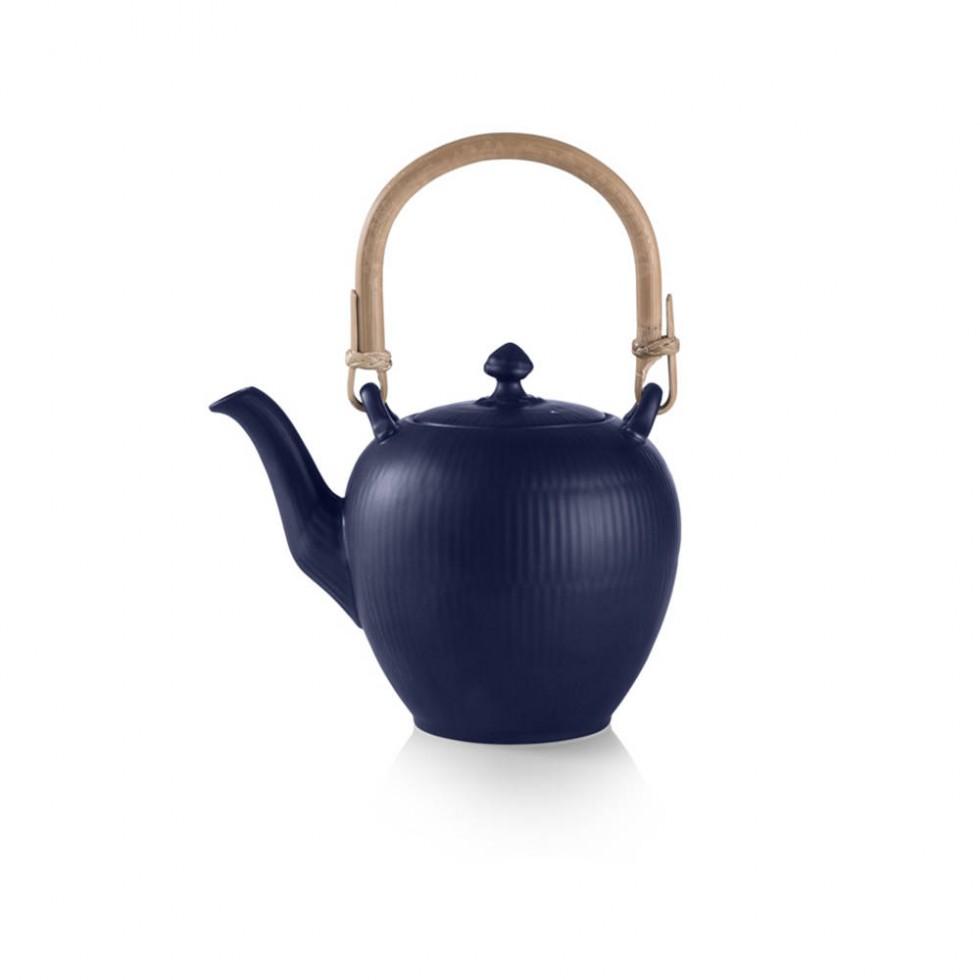 Royal Copenhagen - Blau Gerippt Teekanne 0,75L
