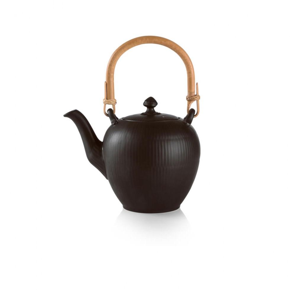 Royal Copenhagen - Schwarz Gerippt Teekanne 0,75L