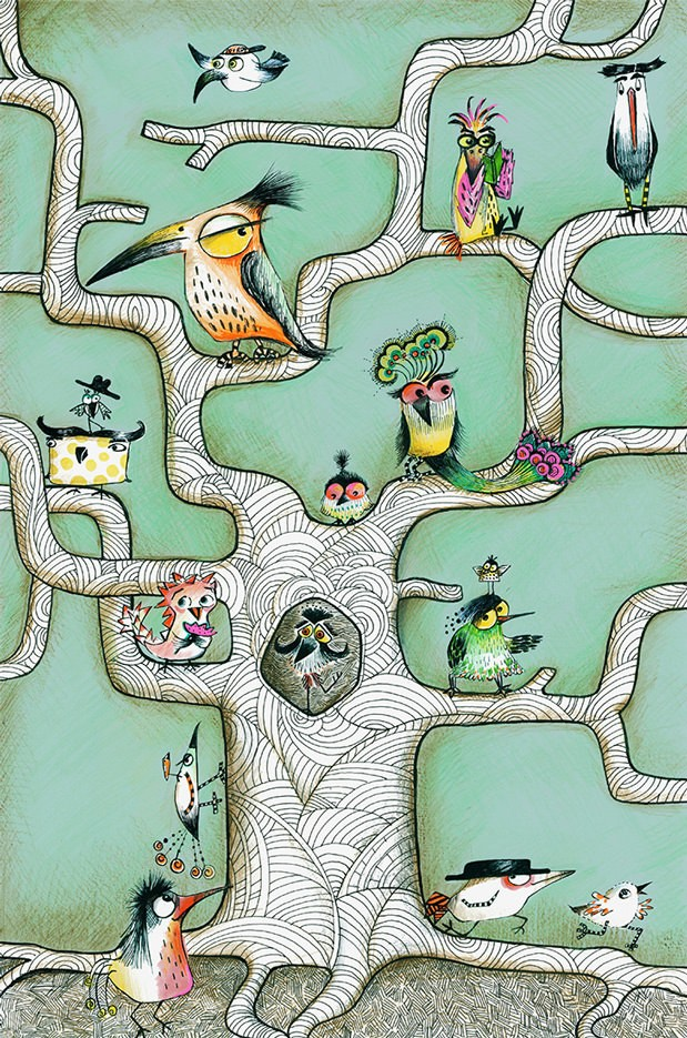 Sofie Børsting - Bird Tree Mint Poster