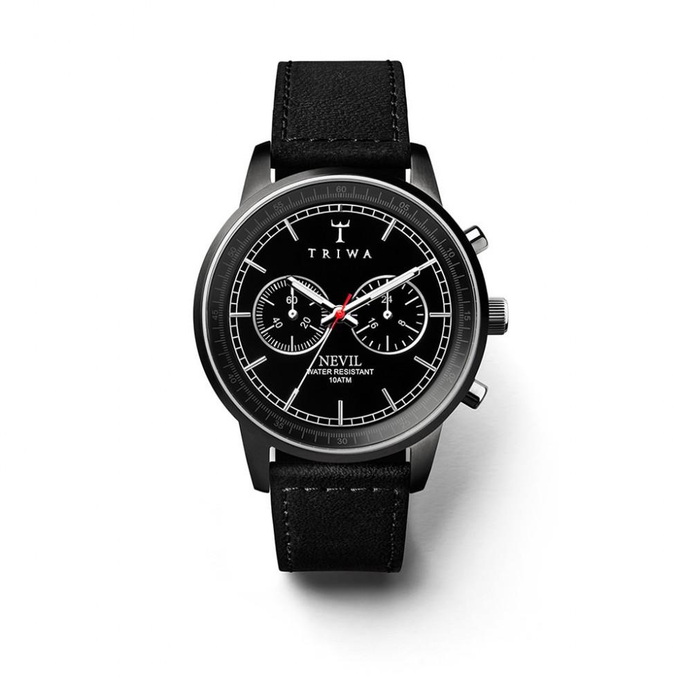 Triwa - Midnight Nevil  Uhr - Black Sewn Classic