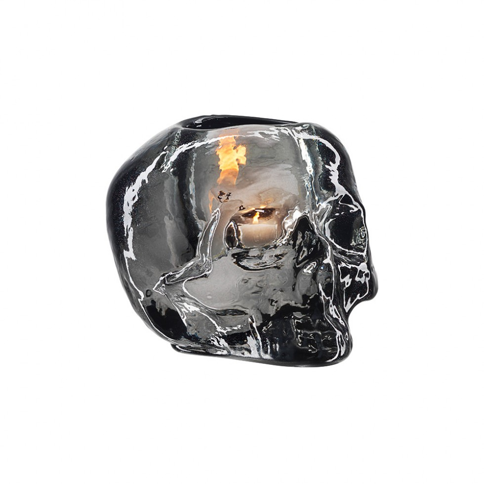 Kosta Boda - Still Life, Skull Votive Black