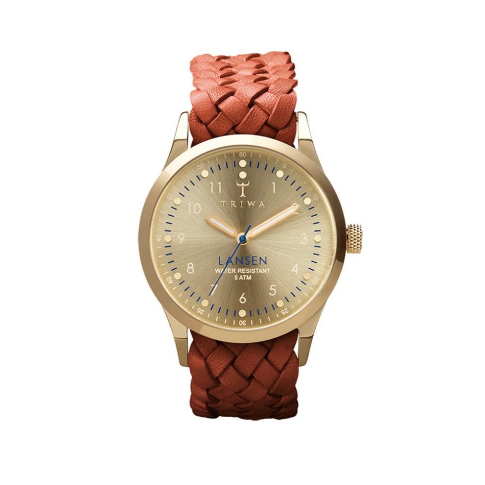 Triwa - Gold Lansen Uhr - Brown Braided Mono